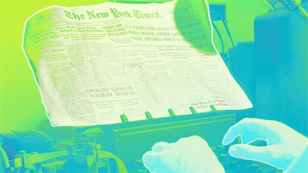 Image of hands hovering over typewriter holding copy of the New York Times