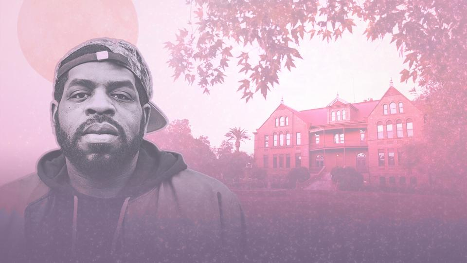 Picture of Hanif Abdurraqib in front of Old Main