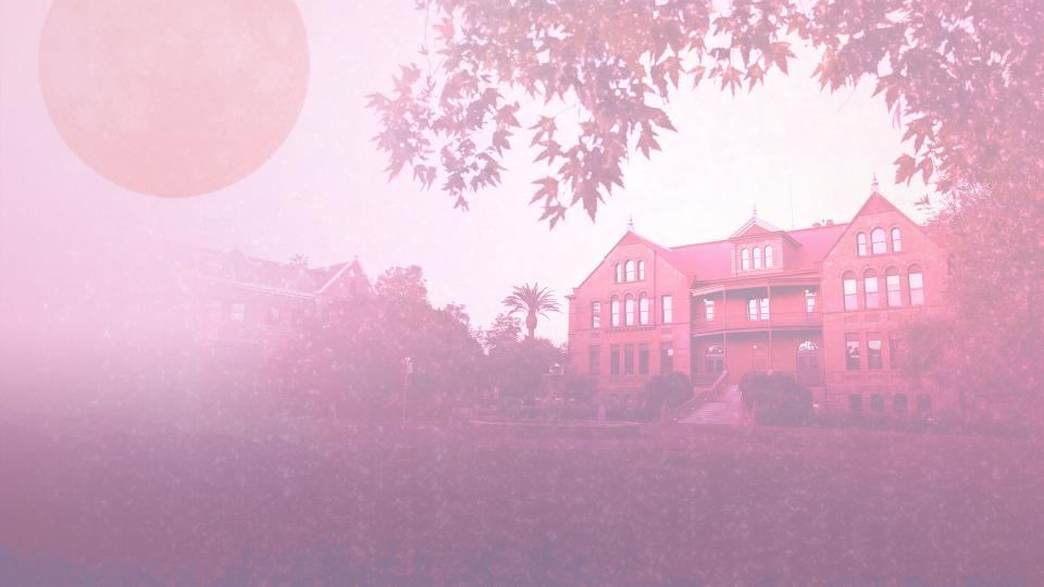 Stylized photograph of Old Main with pink and purple effects