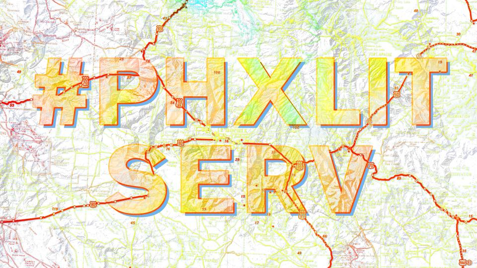 Image of the words '#PhxLitServ' criss-crossed by roads over a topographical map