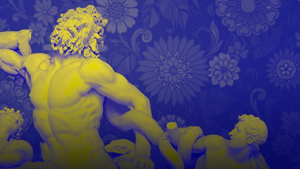 Picture of Laocoön and his sons found in the Baths of Trajan, 1506; Sixties / seventies era floral print wallpaper by Dominic Alves