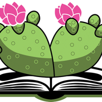 Logo for Palabras: flowering prickly pear cactus coming out of open book